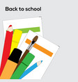 school supplies pencils brush and markers vector image vector image