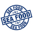 sea food blue round grunge stamp vector image vector image