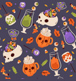 seamless pattern with halloween food image vector image