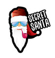 secret santa claus with sunglasses label or vector image