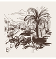 sepia sketch drawing of petrovac montenegro street vector image vector image
