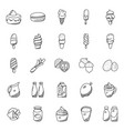 set food and desserts hand drawn icons vector image