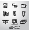 Set of freehand ATM icons with - ATM cards vector image