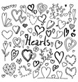 set of hand drawn doodle hearts vector image