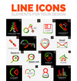 set of web linear thin line icons vector image vector image