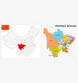 sichuan province administrative map vector image vector image