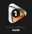 silver number one logo in golden-silver triangle vector image vector image