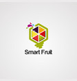 smart fruit logo icon element and template vector image vector image
