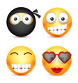 smiley set ninja happy emoticon yellow face vector image