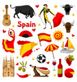 spain icons set spanish traditional symbols and vector image vector image