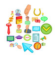 successful promotion icons set cartoon style vector image vector image