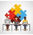 teamwork office computer icon vector image