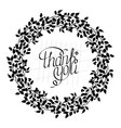 Thank you card in monochrome Stylish floral vector image