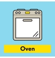 The flat icon of kitchen oven silhouette on the vector image