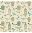 Vintage Bird house pattern vector image