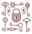 Vintage keys locks and padlocks hand drawn vector image vector image