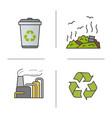 waste management color icons set vector image