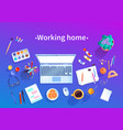 working home concept top view vector image vector image