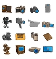 Photo video doodle icons colored vector image