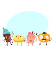 sweet humanized character set isolated vector image