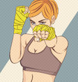 Asian Female Fighter with halftone effect vector image vector image