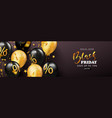 black friday sale banner with beautiful balloons vector image vector image