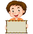 blank sign template with happy boy on white vector image vector image