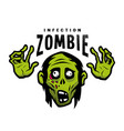 cartoon green zombie outbreak infection emblem vector image vector image