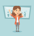 caucasian business woman talking on mobile phone vector image vector image