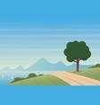 coast landscape and road scene vector image vector image