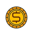 coin cash money flat icon vector image vector image