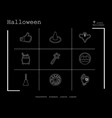 collection of 9 halloween icons in thin line style vector image vector image
