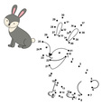 Connect the dots to draw the cute rabbit and color vector image vector image