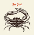 crustacean crab with claws river and lake or sea vector image