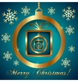 Cyan Gold Decorative Christmas Greeting Card vector image vector image