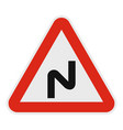 dangerous turn left icon flat style vector image vector image