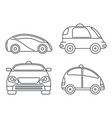 driverless smart car icon set outline style vector image
