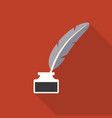 feather pen in inkwell icon vector image