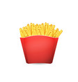 french fries potato in red bucket of fast food vector image vector image