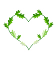 Fresh Green Leaves in A Heart Shape Frame vector image vector image