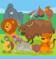 funny cartoon wild animal characters group vector image vector image
