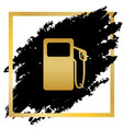 gas pump sign golden icon at black spot vector image