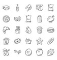hand drawn doodles of food icons vector image