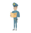 hispanic police officer holding a police report vector image vector image