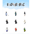 Isometric human set of officer guy detective and vector image