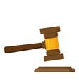 judge wood hammer flat design vector image vector image