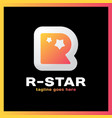 letter r two star logo vector image vector image