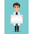 medical doctor in white coat holding blank banner vector image vector image