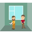 Men making repairs in room vector image vector image