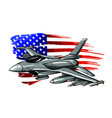 military fighter jets isolated on background vector image vector image